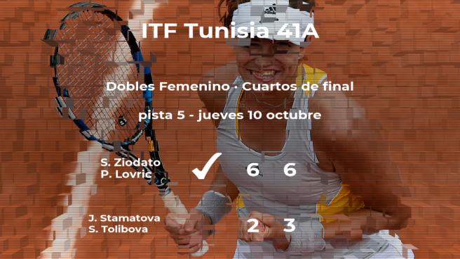 Las tenistas Ziodato y Lovric pasan a las semifinales del torneo de Tabarka