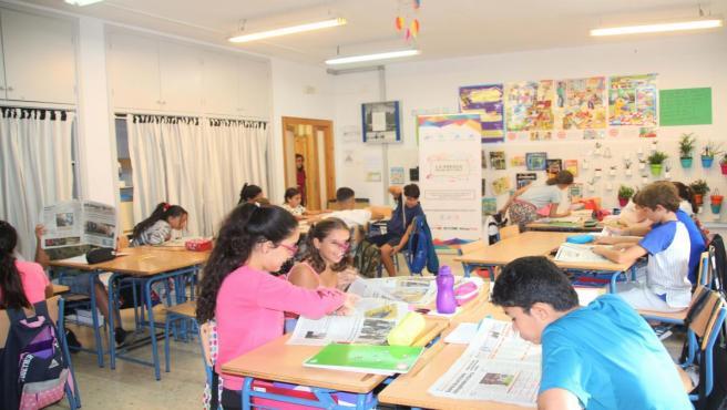 Alumnos participantes en el proyecto de la Asociación de la Prensa para acercar el periodismo a las aulas