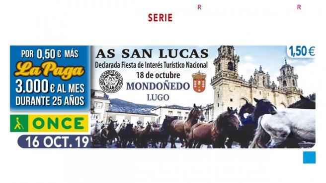 La ONCE dedicará el cupón del 16 de octubre a la Feria de As San Lucas de Mondoñedo (Lugo).