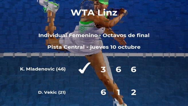 La tenista Kristina Mladenovic, clasificada para los cuartos de final del torneo WTA International de Linz