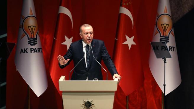 El presidente de Turquía, Recep Tayyip Erdogan, en un discurso ante miembros de su partido, el AKP.