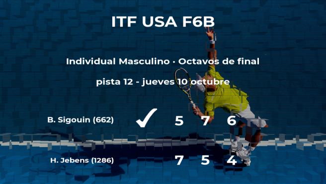 El tenista Benjamin Sigouin consigue clasificarse para los cuartos de final a costa del tenista Hendrik Jebens