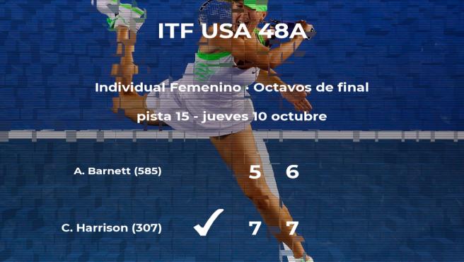 Catherine Harrison gana en los octavos de final del torneo de Claremont
