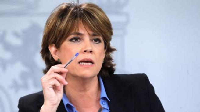 La ministra de Justicia, Dolores Delgado, durante la rueda de prensa.