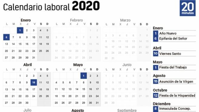 Calendario laboral 2020.