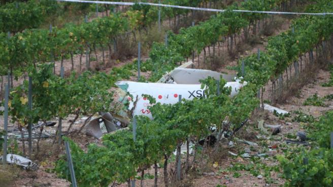 Restos de la avioneta estrellada en Bonastre.