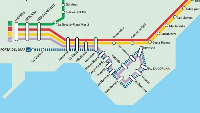 Plano del TRAM en la ciudad de Alicante con la L5 en su recorrido junto al mar.