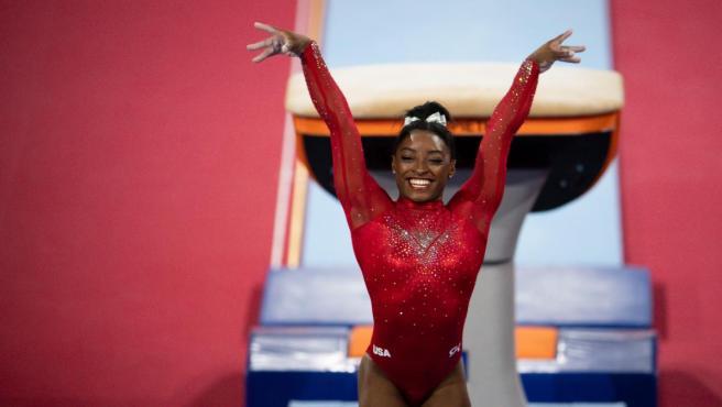 Simone Biles, tras el salto que le ha dado su 23ª medalla mundial.