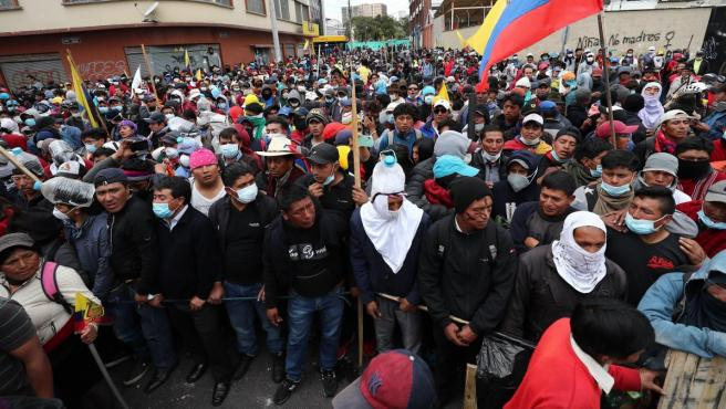Manifestantes indígenas, en una protesta en Quito.