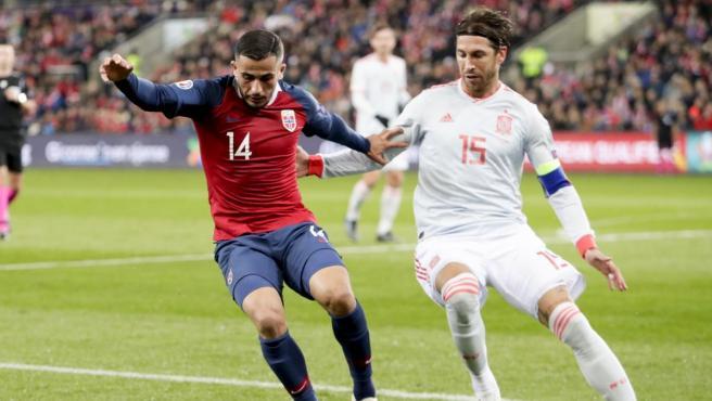 Sergio Ramos, durante su partido número 168 con la selección española.