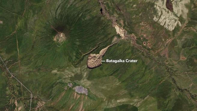 Imagen vía satélite del cráter de Batagaika.