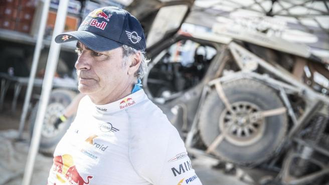 Carlos Sainz, durante el rally de Marruecos.