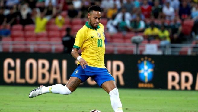 Neymar, durante un partido con Brasil.