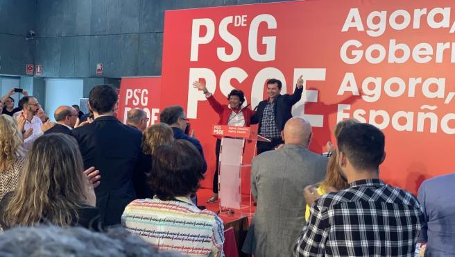 La ministra de Educación y Universidades, Isabel Celaá, y el secretario xeral del PSdeG, Gonzalo Caballero, en Ourense