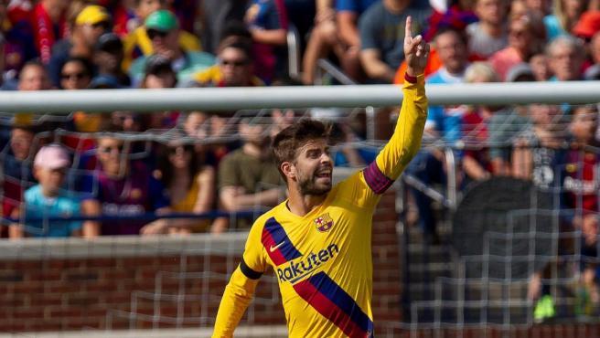 Piqué, en el estreno de LaLiga 2019-20 en Bilbao.