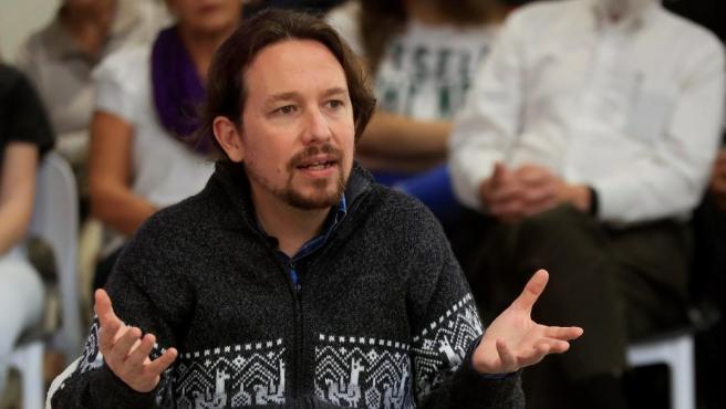 El líder de Podemos, Pablo Iglesias, este jueves durante el acto.
