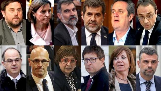 Montaje con los rostros de los condenados en el juicio del procés, nueve por sedición y los tres restantes por desobediencia, así que no ingresarán en prisión.