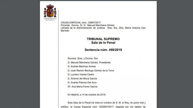 Sentencia Completa De La Resolución Del Juicio Del Procés Condenas Por Sedición
