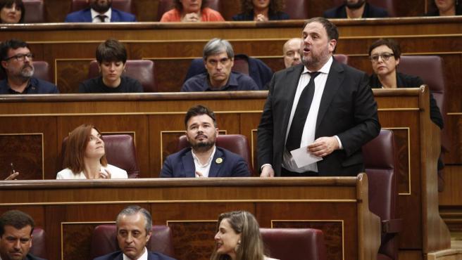 Oriol Junqueras durante la constitución del Congreso.