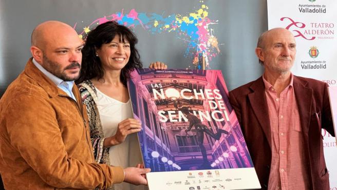 El director de Contenidos de Fibar, Juan Valls; la concejal de Cultura y Turismo, Ana Redondo, y el director de la Semana Internacional de Cine de Valladolid, Javier Ángulo, presentan el espacio de encuentro 'Noches de Seminci'.