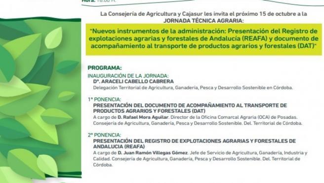 Programa de la jornada técnica 'Nuevos instrumentos de la administración: Presentación del Registro de explotaciones agrarias y forestales de Andalucía y documento de acompañamiento al transporte de productos agrarios y forestales'