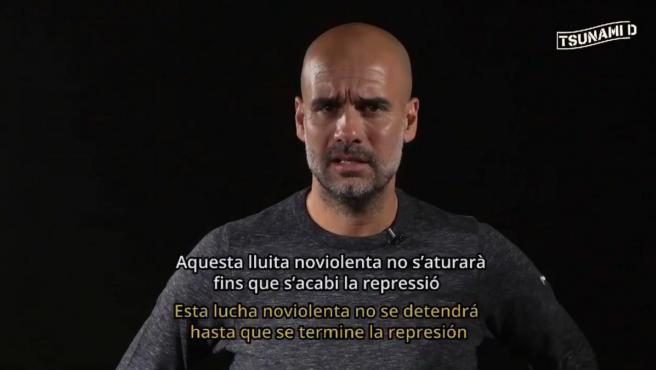 Pep Guardiola critica la sentencia del procés en un vídeo de Tsunami Democratic.