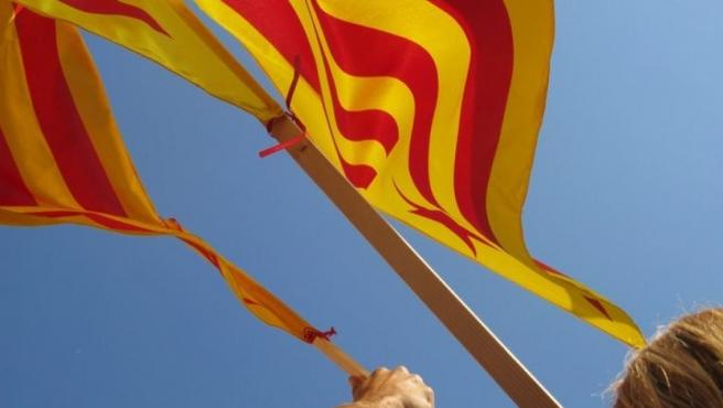 La 'senyera', la bandera catalana.