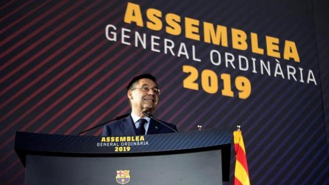 Josep María Bartomeu, durante la Asamblea del Barça