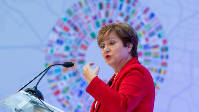 Kristalina Georgieva, directora del FMI, pronunciando su primer discurso al frente del cargo.