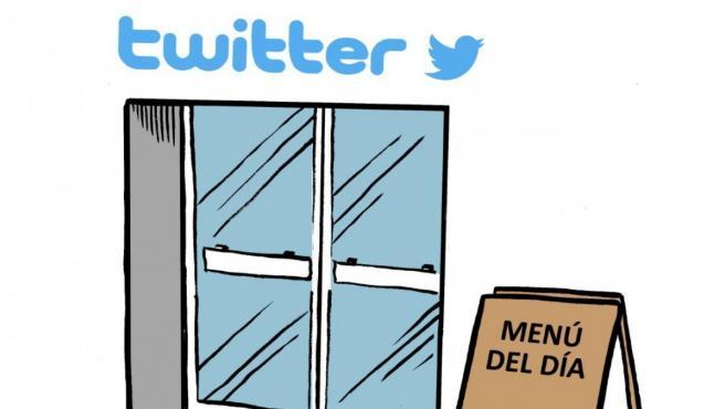 Twitter, viñeta de Malagón.