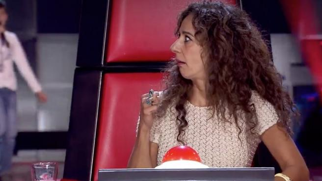 Rosario Flores, 'coach' en el programa 'La Voz Kids' (Telecinco), durante la fase de las audiciones a ciegas.