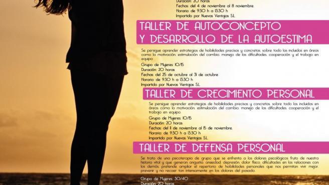 Cartel de los cuatro cursos que pone en marcha el Ayuntamiento de León para fomentar el empoderamiento femenino.