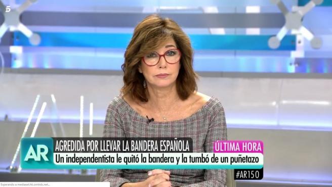 Ana Rosa Quintana, indignada con la agresión a una mujer que portaba la bandera de España en una protesta por la sentencia del 'procés'.