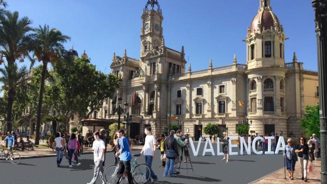 Figuración virtual de la plaza del Ayuntamiento una vez peatonalizada.