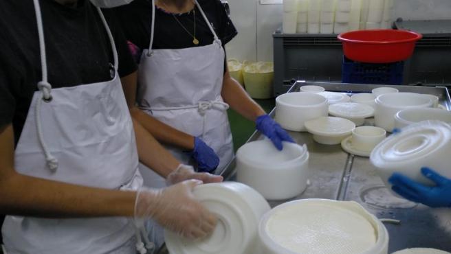Dos trabajadores en una quesería de Málaga que participa en un proyecto para emplear a personas con diversidad funcional
