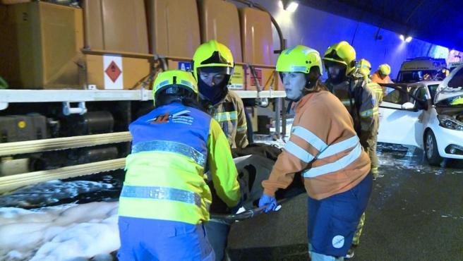 Simulación de accidente de tráfico en el túnel de Miravete
