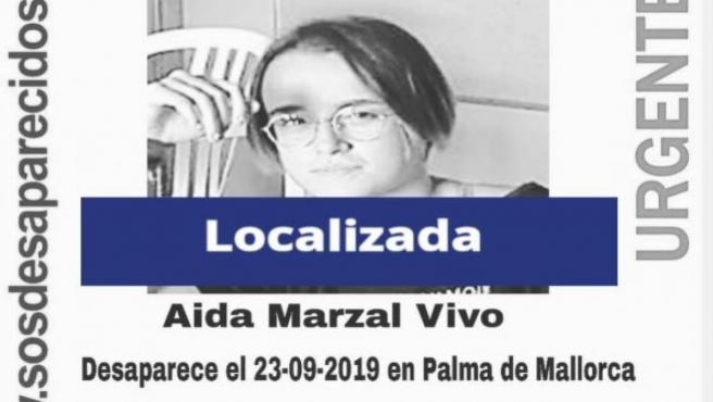 Cartel de la desparecida de 16 años en Palma, que ya ha sido localizada
