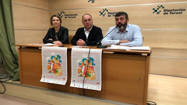 El delegado del Área de Agricultura y Ganadería de la DPT, Antonio Pérez, el alcalde de Alcorisa, Miguel Iranzo, y la concejal Romina Formento