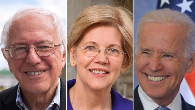 De izq. a dcha., Bernie Sanders, Elisabeth Warren y Joe Biden.