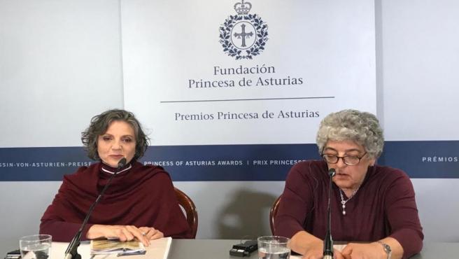 Sandra Díaz y Joanne Chory durante la rueda de prensa.