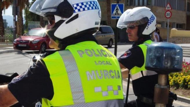 Agentes Policía Local de Murcia, en una foto de archivo.
