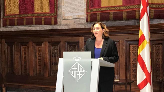 La alcaldesa de Barcelona, Ada Colau, pronuncia una declaración institucional desde el Ayuntamiento de Barcelona sobre la sentencia del proceso independentista.