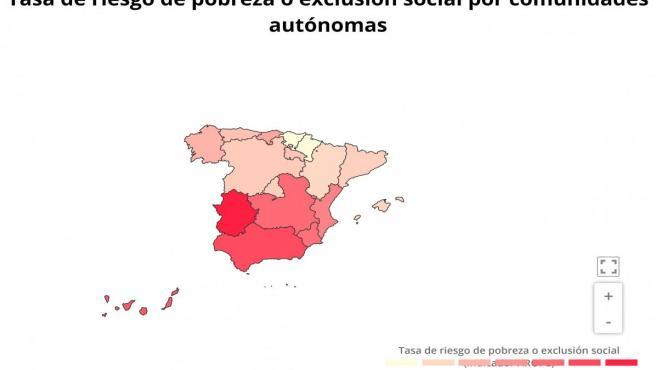 Mapa tasa de riesgo de pobreza, por comunidades