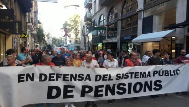 Manifestación en defensa del sistema público de pensiones en Palma