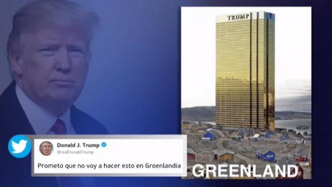 Tuit de Donald Trump en el que bromea con la compra de Groenlandia.