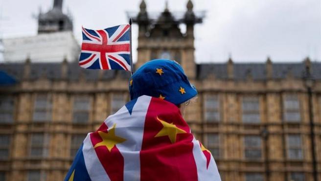 Un manifestante en contra del 'brexit', frente al Parlamento británico, en Londres.
