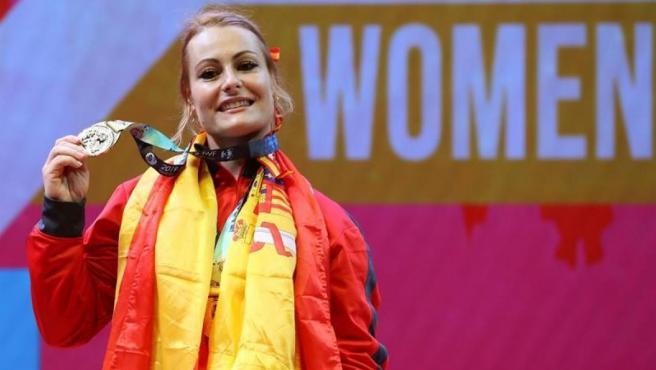 Lydia Valentín, medalla de plata en el campeonato del mundo de halterofilia.