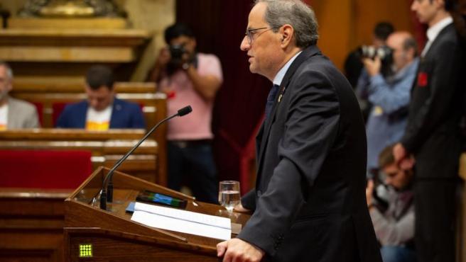 El presidente Quim Torra comparece en el Parlament