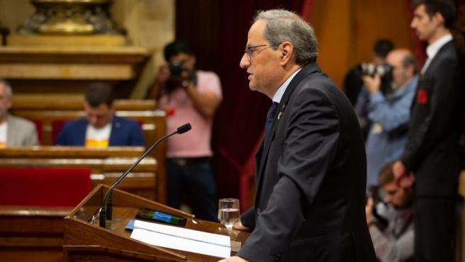 El presidente Quim Torra comparece en el Parlament.