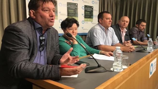 Portavoces de las organizaciones agrarias aragonesas.